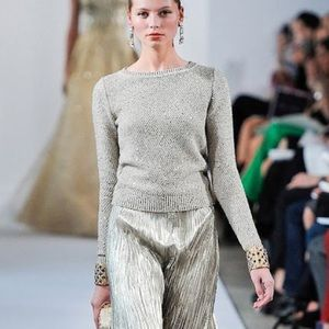 Oscar de la Renta R13 Gold Sequin Pullover Sweater